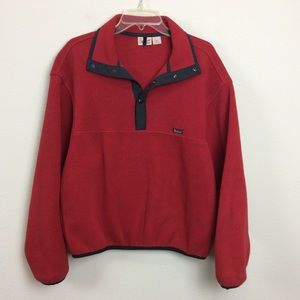Mens Woolrich Red Fleece Pullover Medium